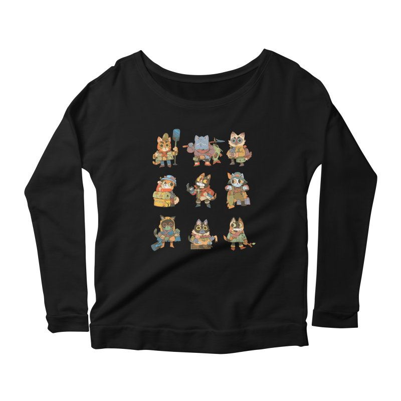 Fishing Felines Women's Scoop Neck Longsleeve T-Shirt by Kyle Ferrin's Artist Shop