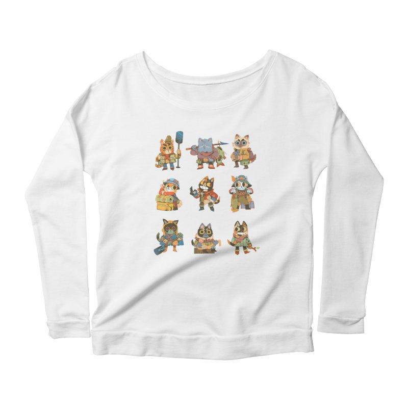 Fishing Felines Women's Scoop Neck Longsleeve T-Shirt by Kyle Ferrin's Artist Shop