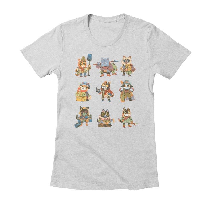 Fishing Felines Women's Fitted T-Shirt by Kyle Ferrin's Artist Shop