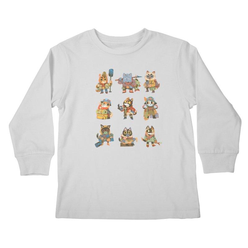 Fishing Felines Kids Longsleeve T-Shirt by Kyle Ferrin's Artist Shop