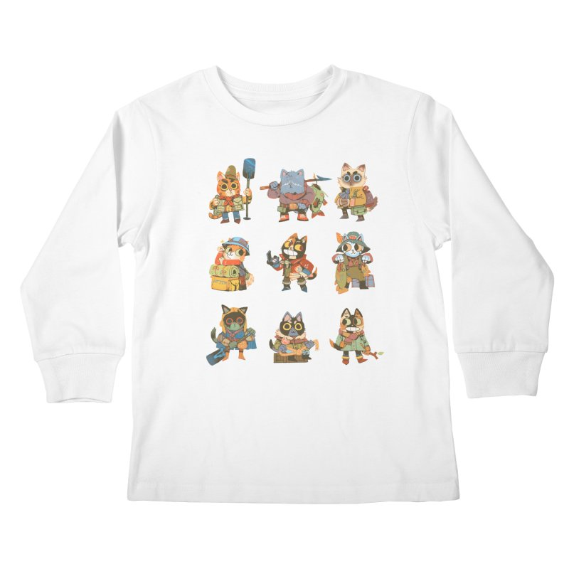 Fishing Felines Kids Longsleeve T-Shirt by Kyle Ferrin's Artist Shop