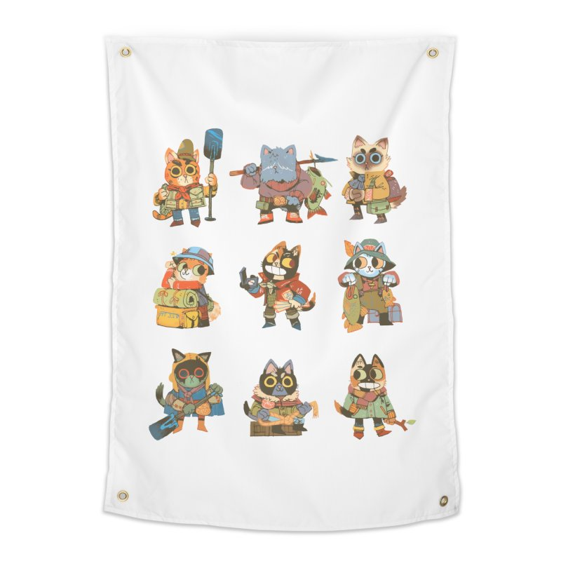 Fishing Felines Home Tapestry by Kyle Ferrin's Artist Shop