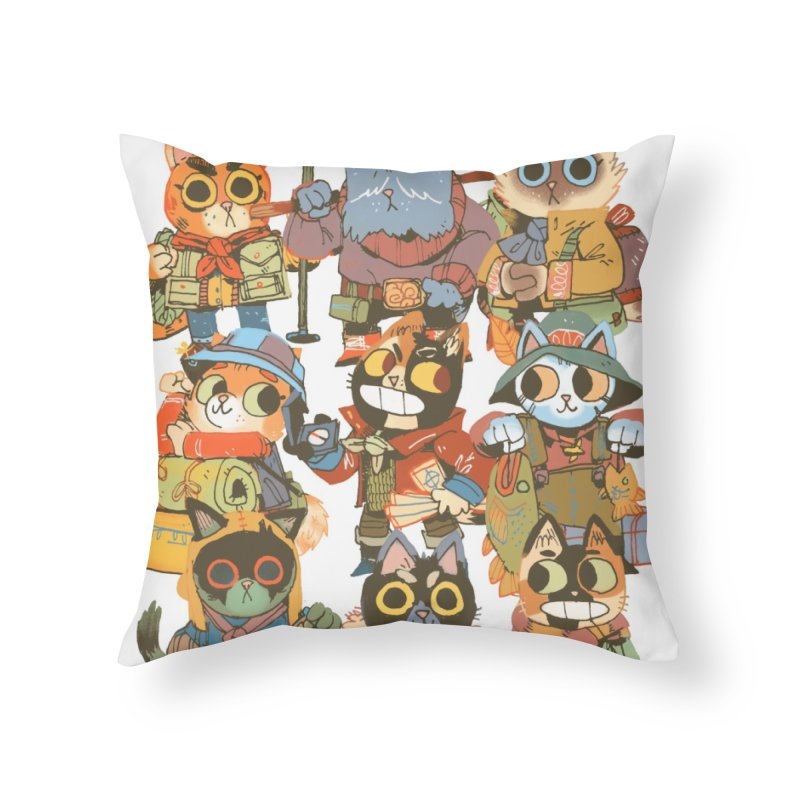 Fishing Felines Home Throw Pillow by Kyle Ferrin's Artist Shop