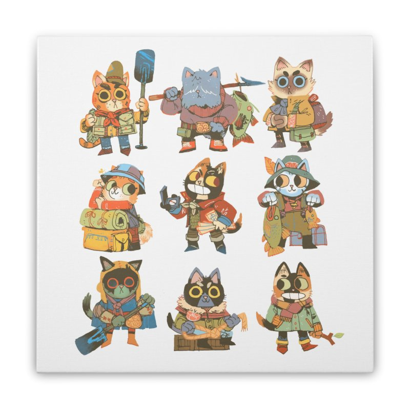 Fishing Felines Home Stretched Canvas by Kyle Ferrin's Artist Shop