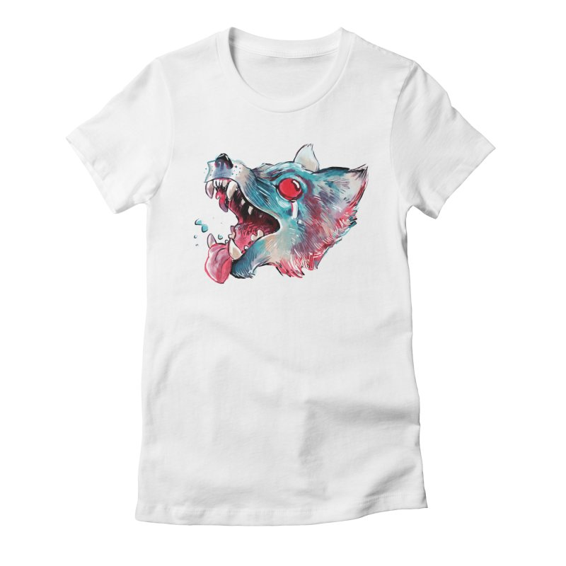 Weekend Wolf Women's Fitted T-Shirt by Kyle Ferrin's Artist Shop