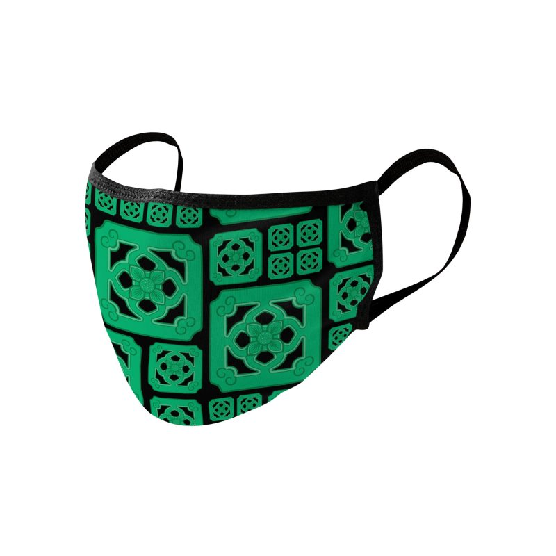 Jade Tile, Green on Black Accessories Face Mask by Kymm! Bang