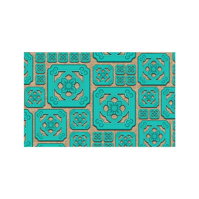 Jade Tile, Turquoise on Linen Accessories Face Mask by Kymm! Bang