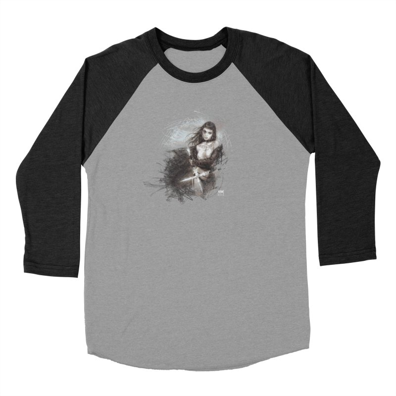 Luis Royo - Sword Fantasy Warrior Women's Baseball Triblend Longsleeve T-Shirt by Laberinto Gris