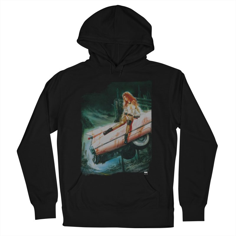 Luis Royo - Pink Cadillac in Men's French Terry Pullover Hoody Black by Laberinto Gris