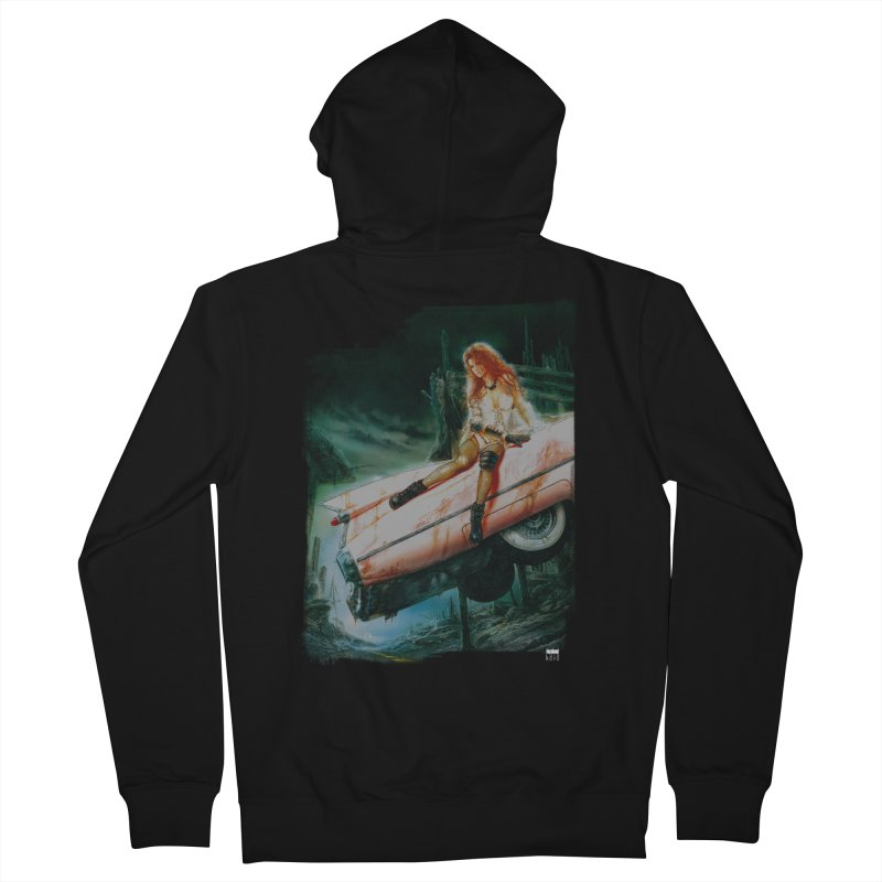Luis Royo - Pink Cadillac Men's French Terry Zip-Up Hoody by Laberinto Gris