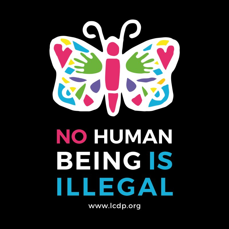 No Human Being Is Illegal- Black Kids T-Shirt by La Clinica del Pueblo Retail Store