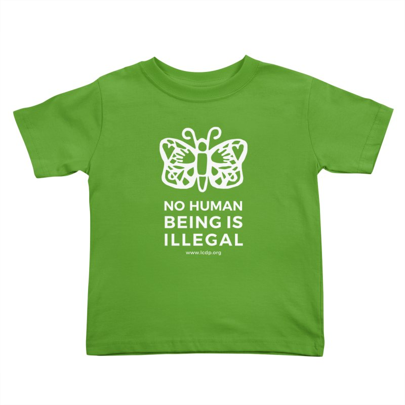 No Human Being is Illegal-Multicolored Kids Toddler T-Shirt by La Clinica del Pueblo Retail Store