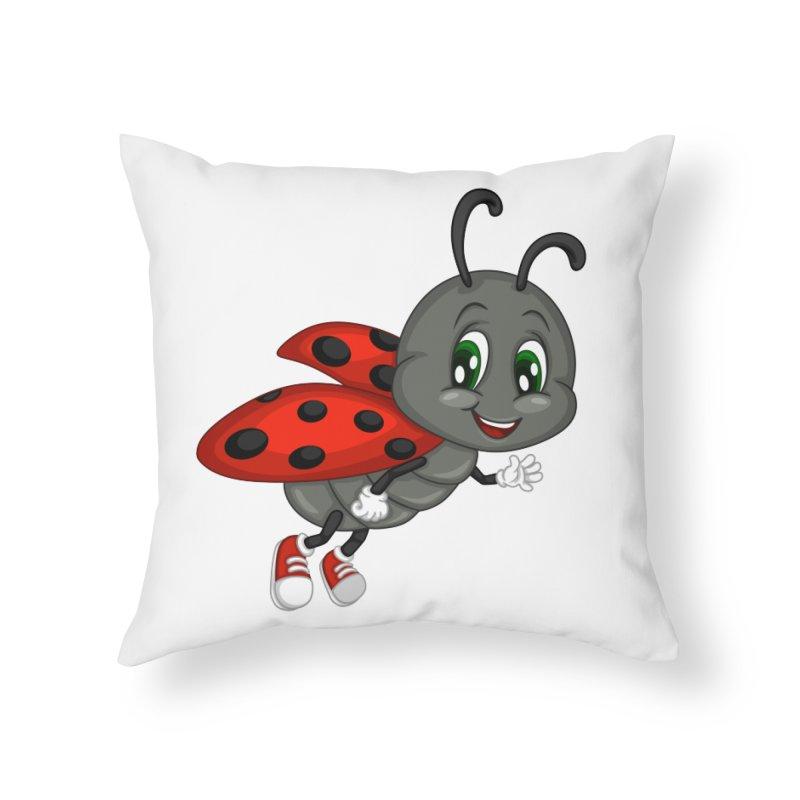 Ladybug Home Throw Pillow by BubaMara's Artist Shop