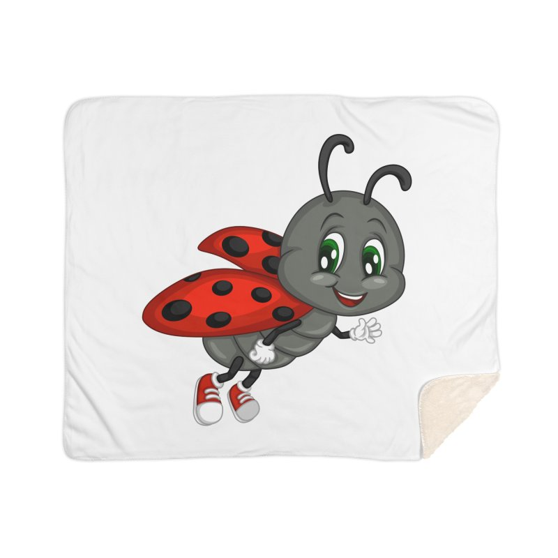Ladybug Home Sherpa Blanket Blanket by BubaMara's Artist Shop