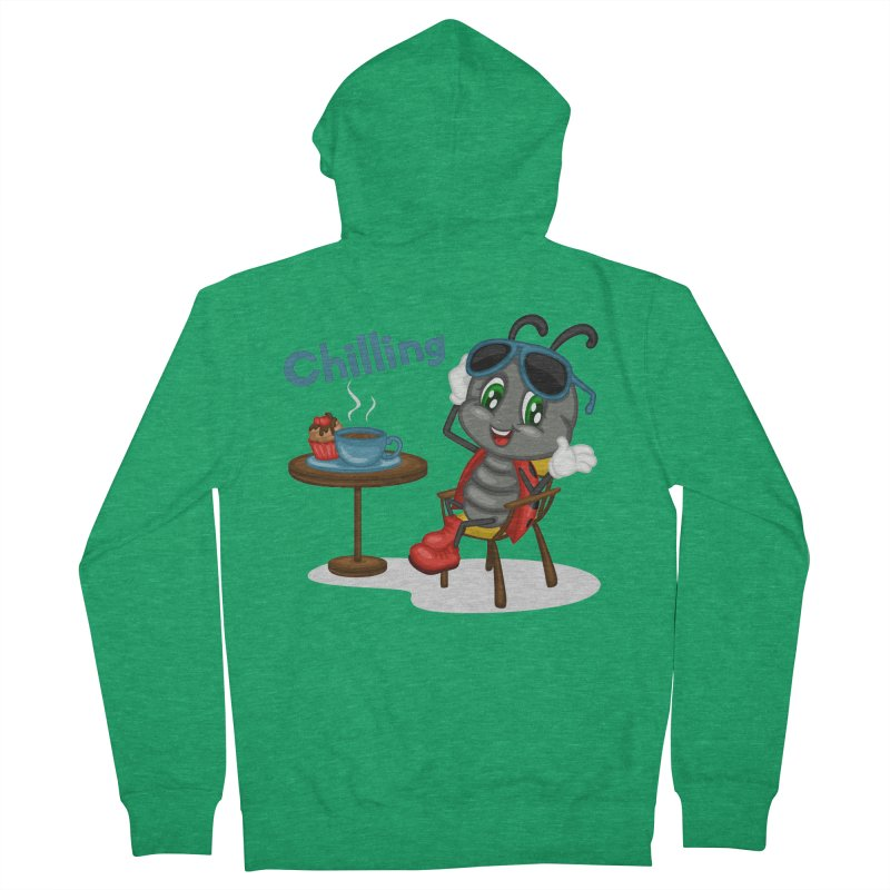 Ladybug Chilling Men's French Terry Zip-Up Hoody by BubaMara's Artist Shop
