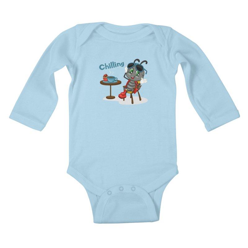 Ladybug Chilling Kids Baby Longsleeve Bodysuit by BubaMara's Artist Shop
