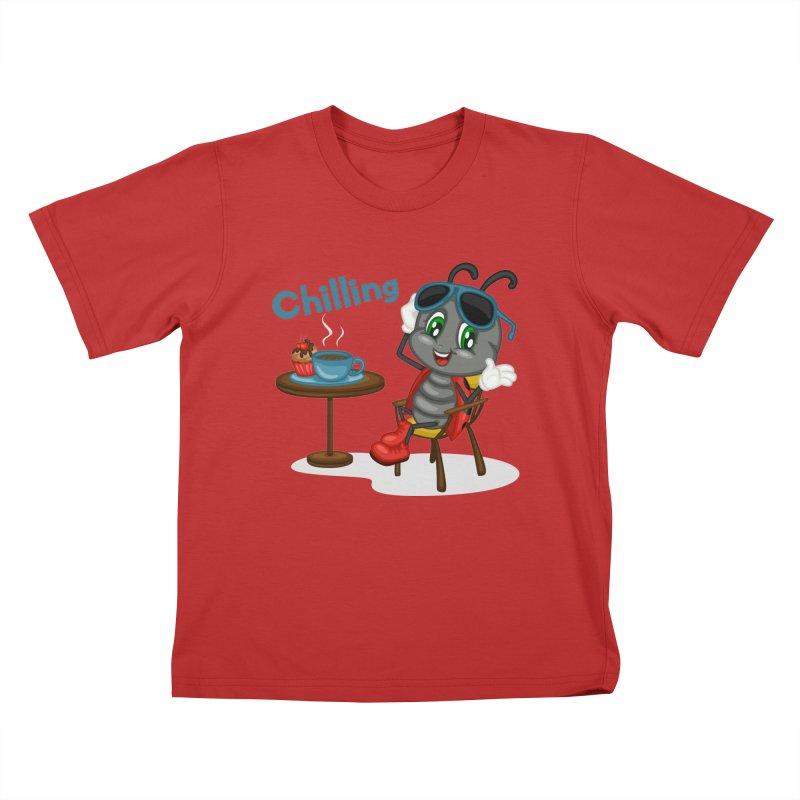 Ladybug Chilling Kids T-Shirt by BubaMara's Artist Shop