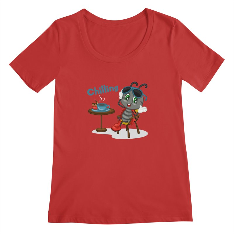 Ladybug Chilling Women's Scoopneck by BubaMara's Artist Shop
