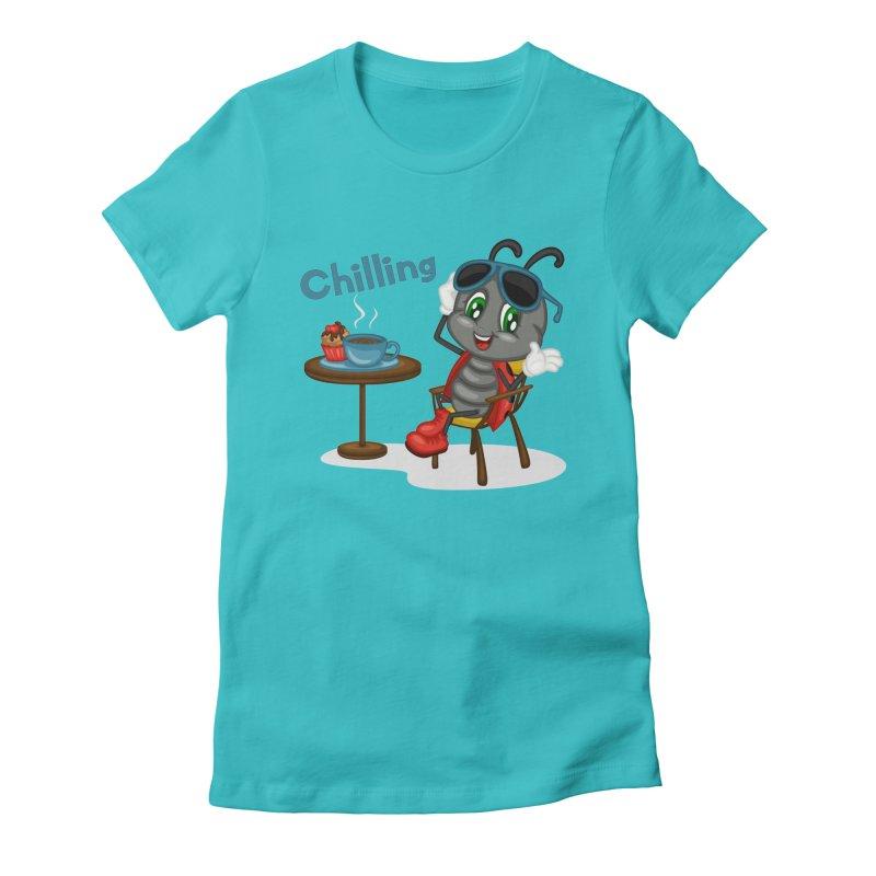 Ladybug Chilling Women's Fitted T-Shirt by BubaMara's Artist Shop