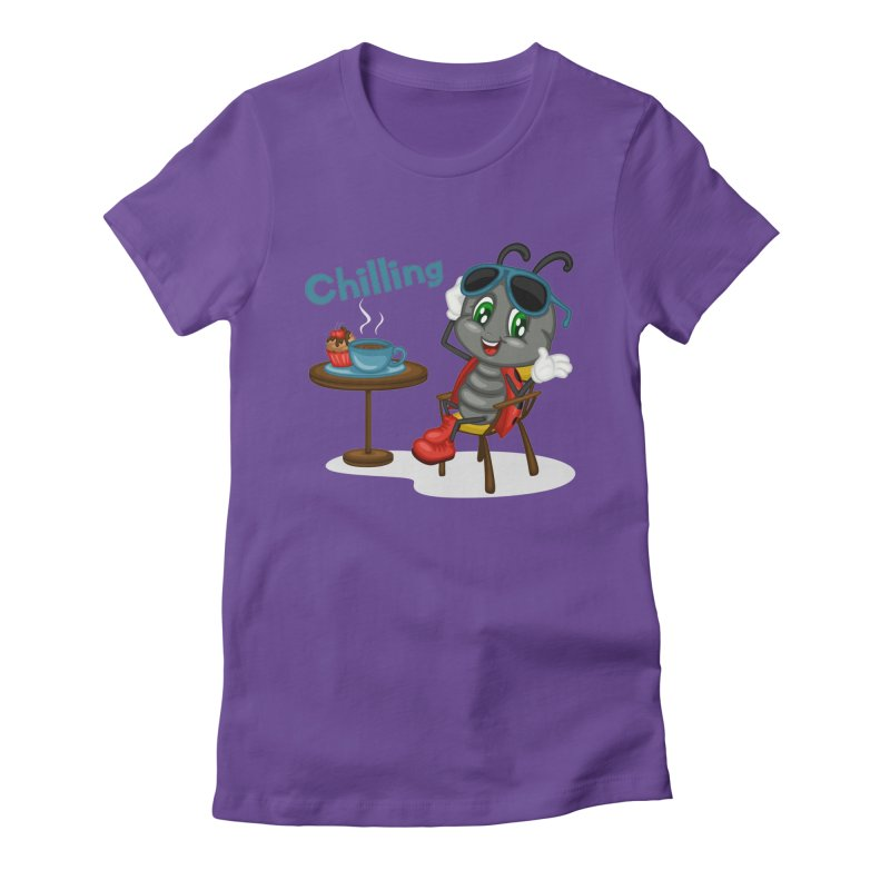 Ladybug Chilling Women's Fitted T-Shirt by BubaMara's Artist Shop