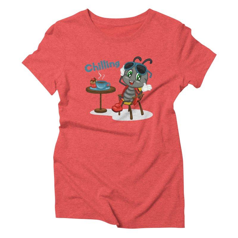 Ladybug Chilling Women's Triblend T-Shirt by BubaMara's Artist Shop