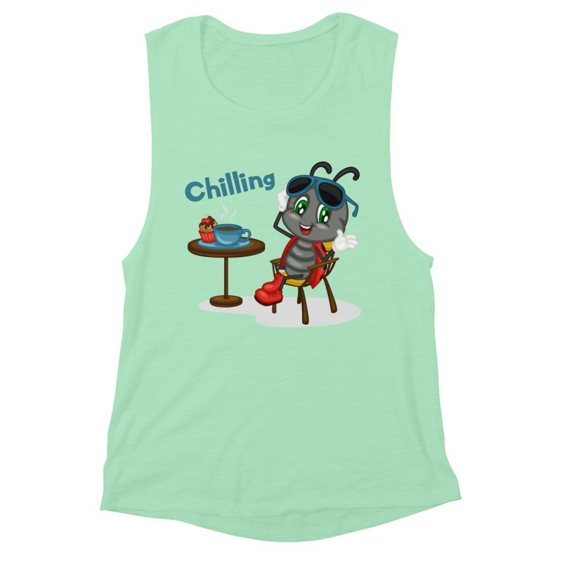 Ladybug Chilling Women's Muscle Tank by BubaMara's Artist Shop