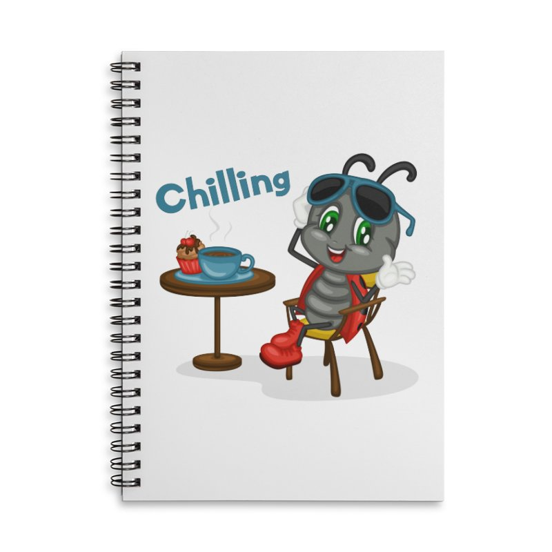 Ladybug Chilling Accessories Lined Spiral Notebook by BubaMara's Artist Shop