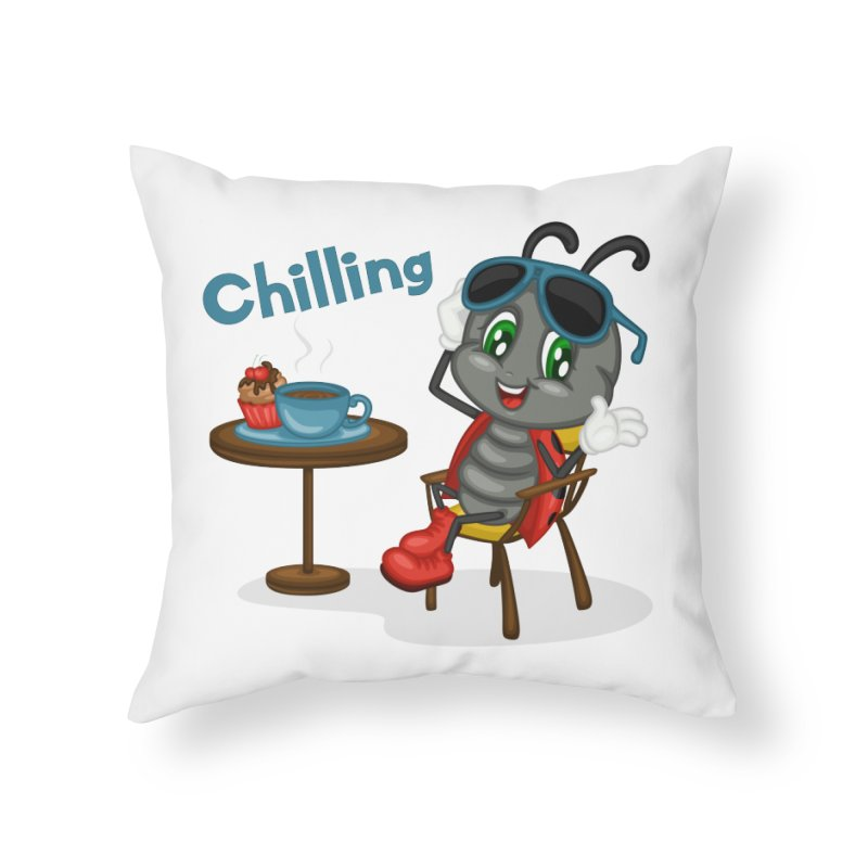 Ladybug Chilling Home Throw Pillow by BubaMara's Artist Shop