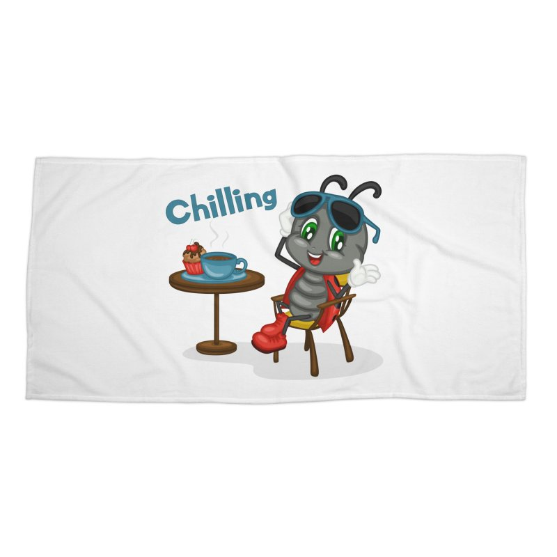 Ladybug Chilling Accessories Beach Towel by BubaMara's Artist Shop
