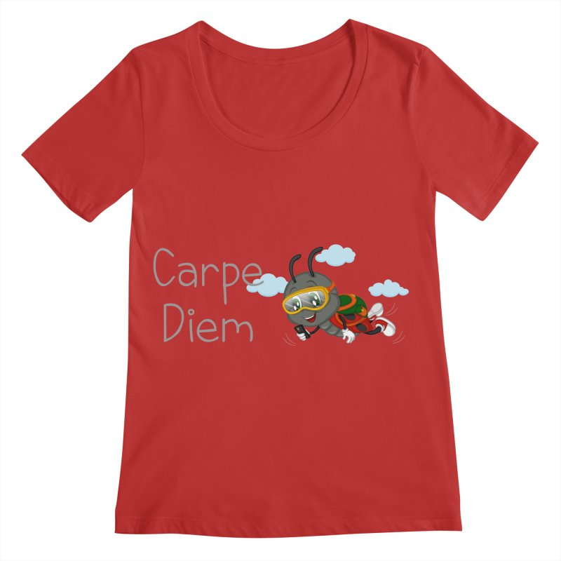 Ladybug Carpe Diem Women's Regular Scoop Neck by BubaMara's Artist Shop