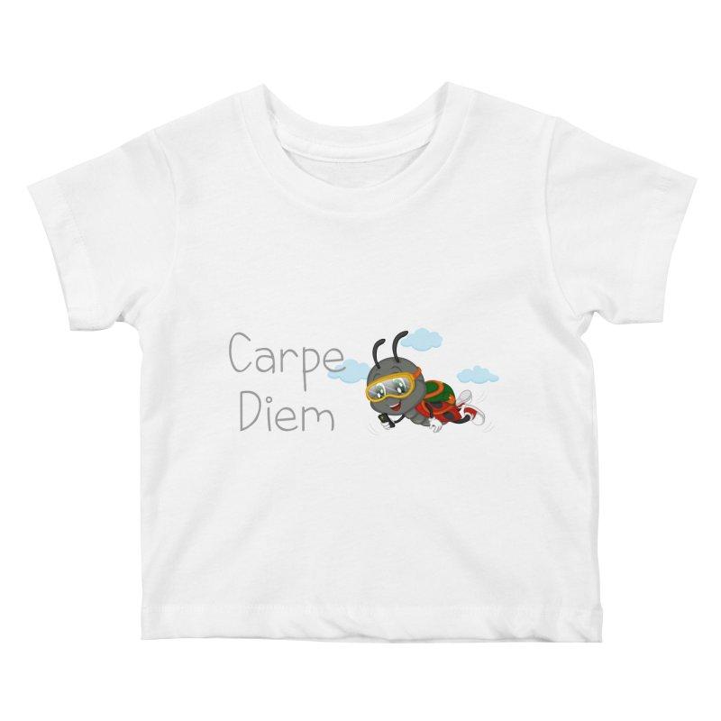 Ladybug Carpe Diem Kids Baby T-Shirt by BubaMara's Artist Shop