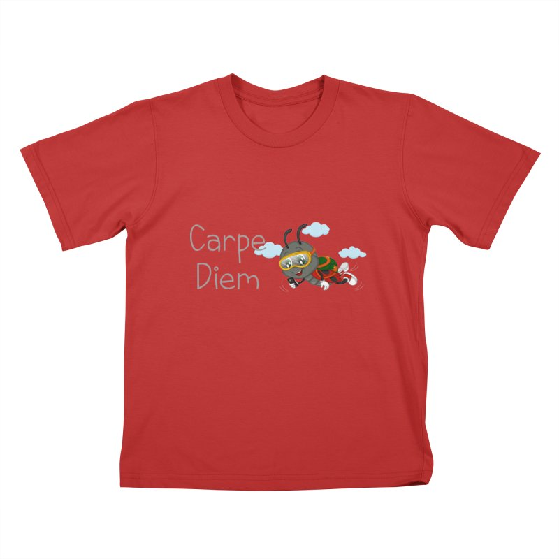 Ladybug Carpe Diem Kids T-Shirt by BubaMara's Artist Shop