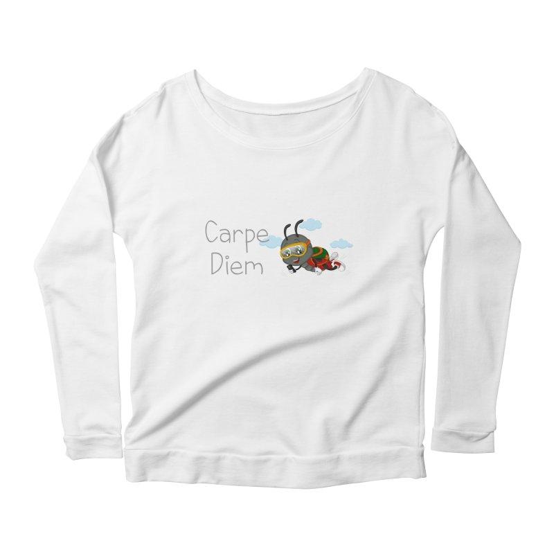 Ladybug Carpe Diem Women's Scoop Neck Longsleeve T-Shirt by BubaMara's Artist Shop