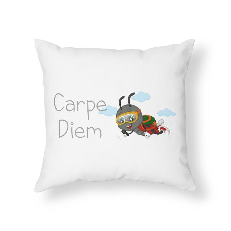 Ladybug Carpe Diem Home Throw Pillow by BubaMara's Artist Shop