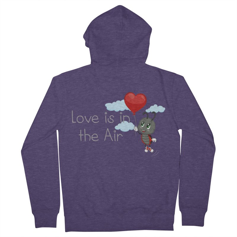 Ladybug Love is in the Air Men's French Terry Zip-Up Hoody by BubaMara's Artist Shop