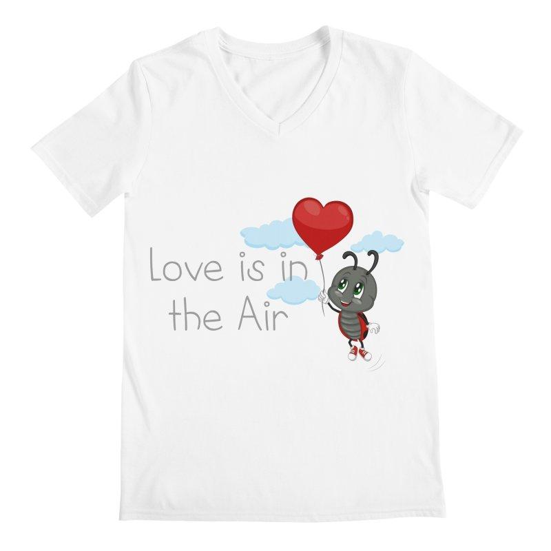 Ladybug Love is in the Air Men's Regular V-Neck by BubaMara's Artist Shop