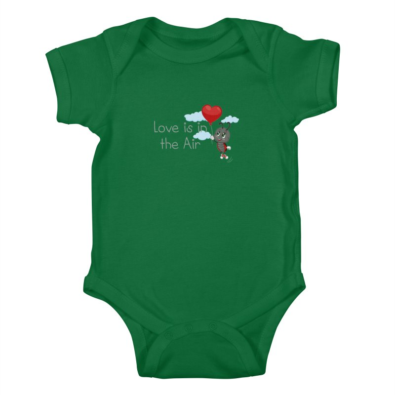 Ladybug Love is in the Air Kids Baby Bodysuit by BubaMara's Artist Shop