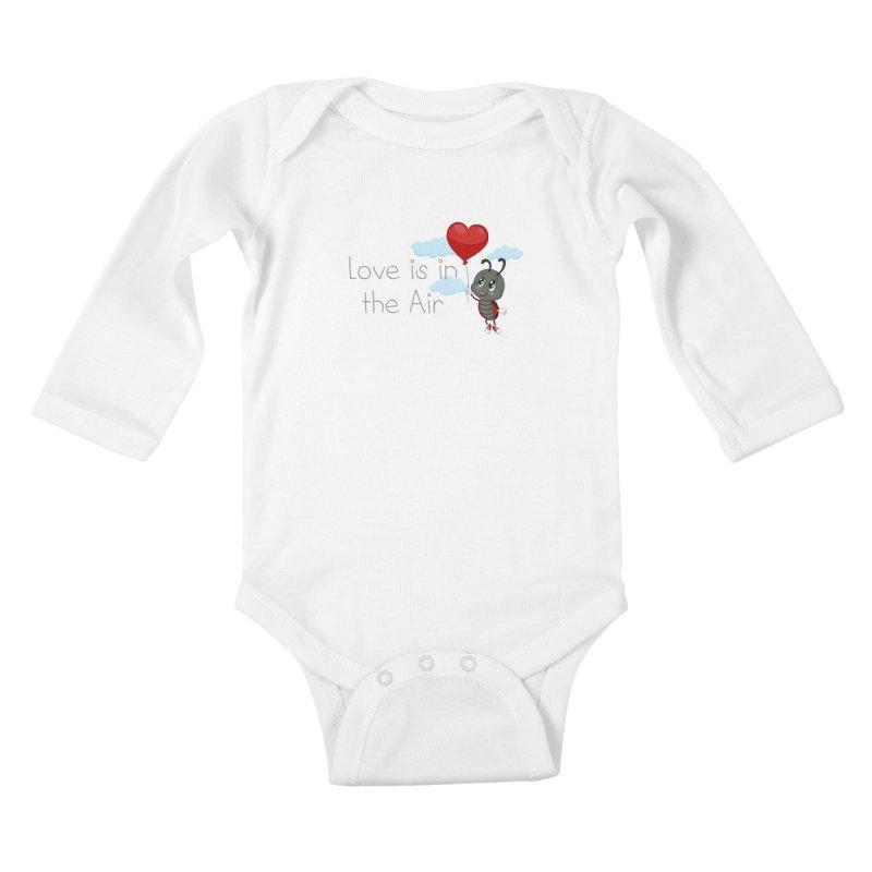Ladybug Love is in the Air Kids Baby Longsleeve Bodysuit by BubaMara's Artist Shop
