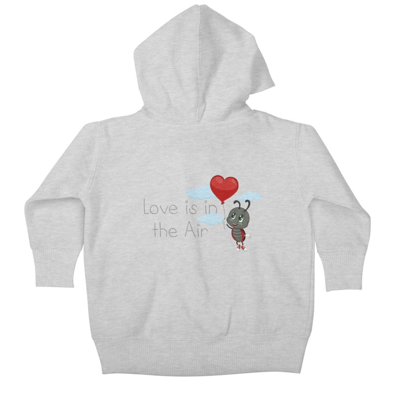 Ladybug Love is in the Air Kids Baby Zip-Up Hoody by BubaMara's Artist Shop