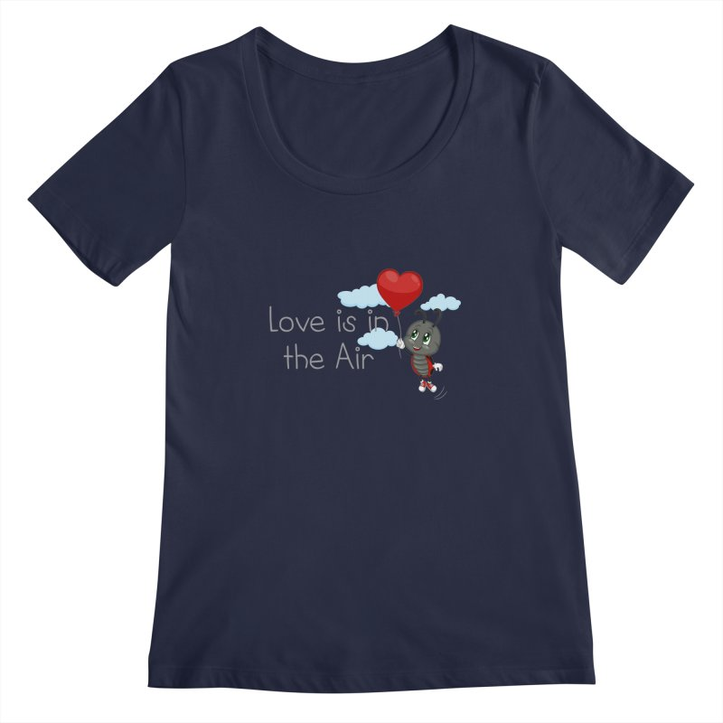 Ladybug Love is in the Air Women's Scoopneck by BubaMara's Artist Shop