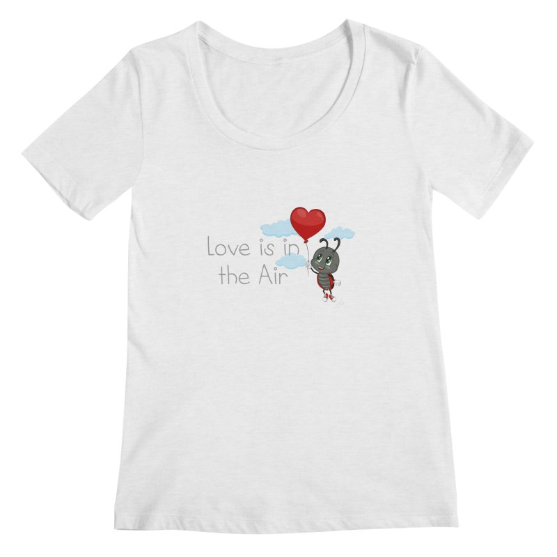 Ladybug Love is in the Air Women's Regular Scoop Neck by BubaMara's Artist Shop