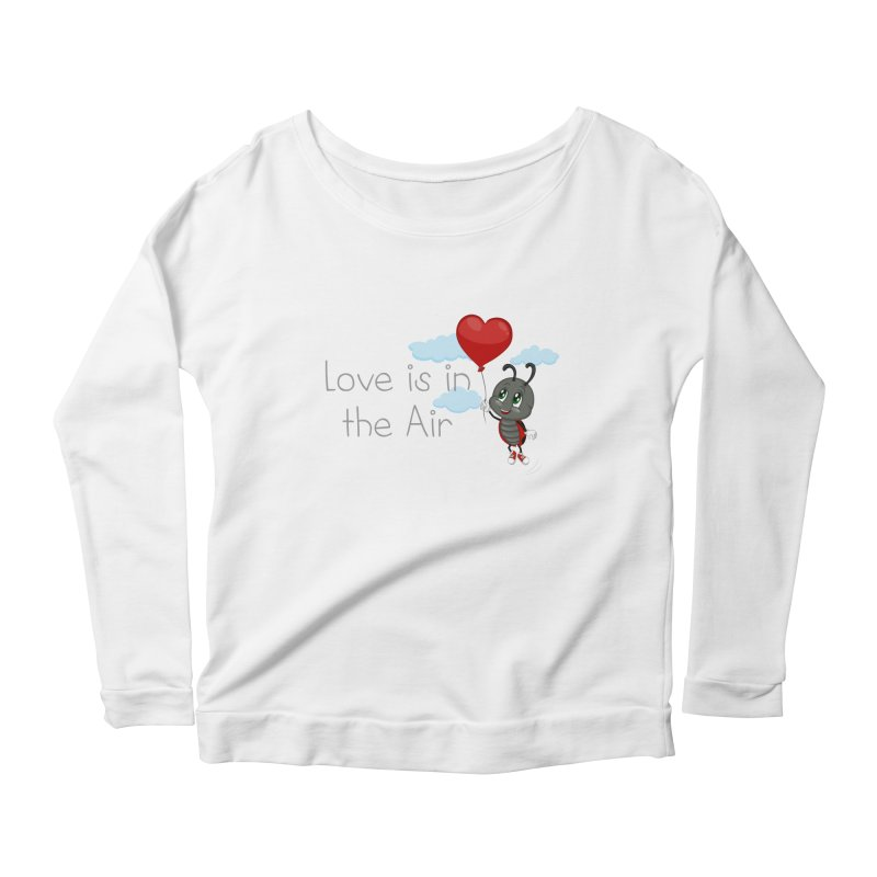 Ladybug Love is in the Air Women's Scoop Neck Longsleeve T-Shirt by BubaMara's Artist Shop