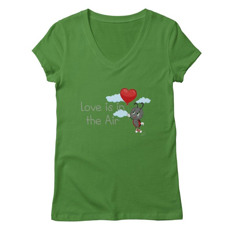 Ladybug Love is in the Air Women's Regular V-Neck by BubaMara's Artist Shop