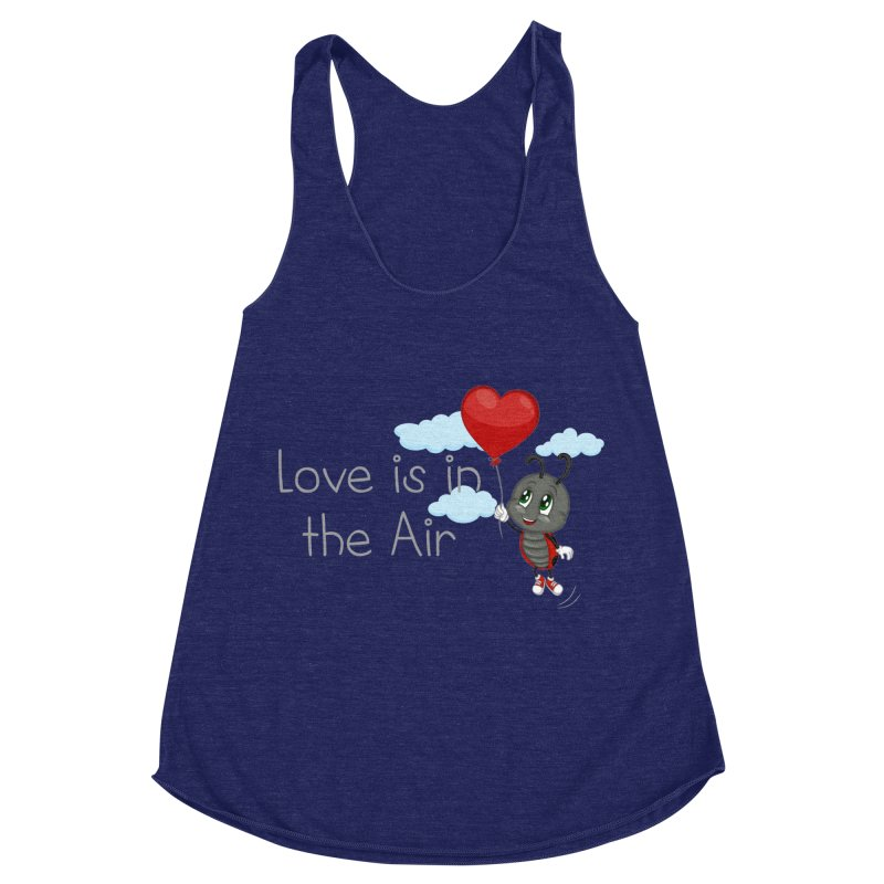Ladybug Love is in the Air Women's Racerback Triblend Tank by BubaMara's Artist Shop