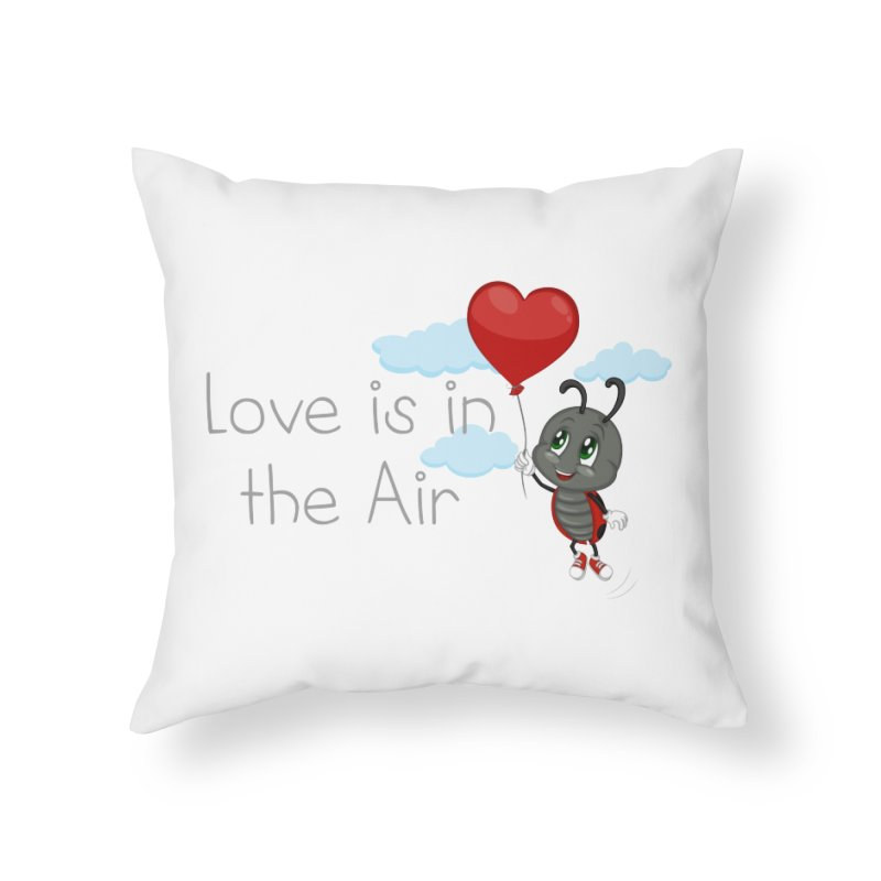 Ladybug Love is in the Air Home Throw Pillow by BubaMara's Artist Shop