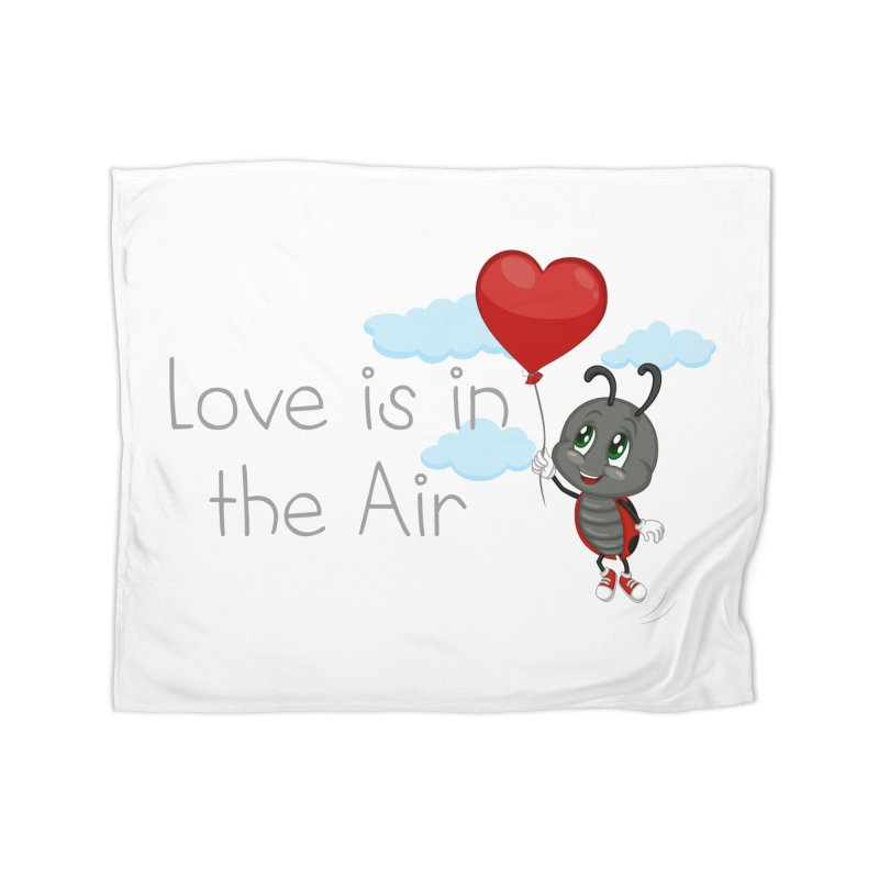 Ladybug Love is in the Air Home Fleece Blanket by BubaMara's Artist Shop