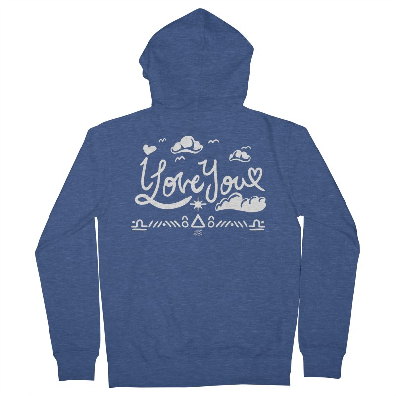 I Love You Men's French Terry Zip-Up Hoody by Lady Katie Sue