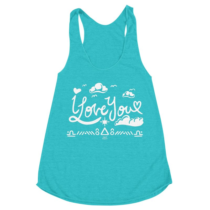 I Love You Women's Racerback Triblend Tank by Lady Katie Sue
