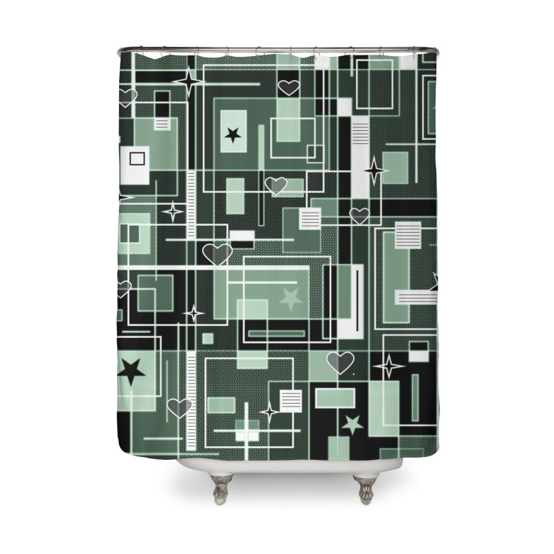 3 Shades of Green Home Shower Curtain by Lady Ls Designs Artist Shop