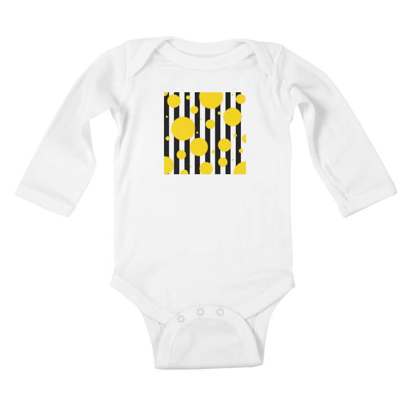 Fun Yellow Dots Kids Baby Longsleeve Bodysuit by Lady Ls Designs Artist Shop